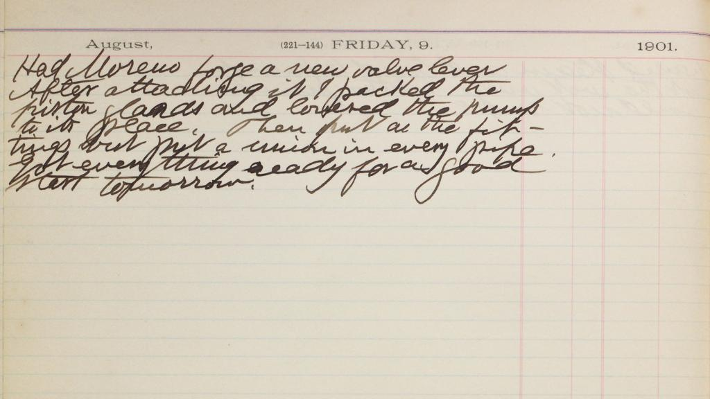 Diary Entry, August 9, 1901