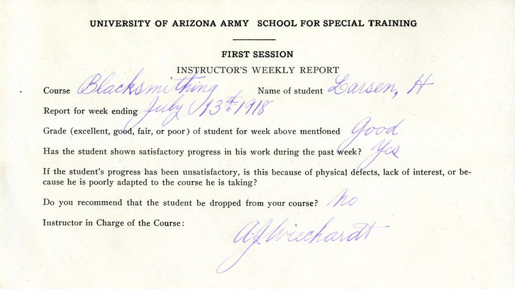 Instructor's Weekly report for Blacksmithing Course, 1918