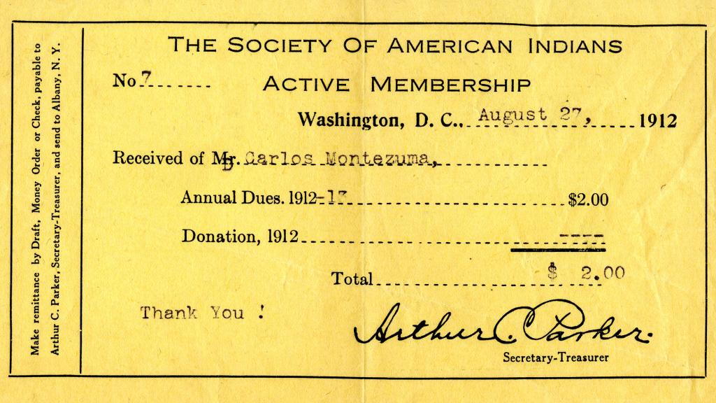 The Society of American Indians Active Membership Card, 1912