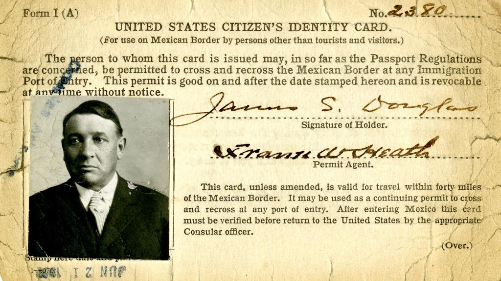 United States Citizen's Identity Card Issued to James S. Douglas, June 21, 1920