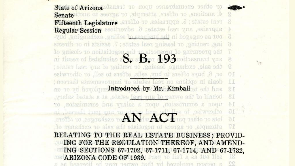 S.B. 193 - Providing Regulation to the Real Estate Business, 1942