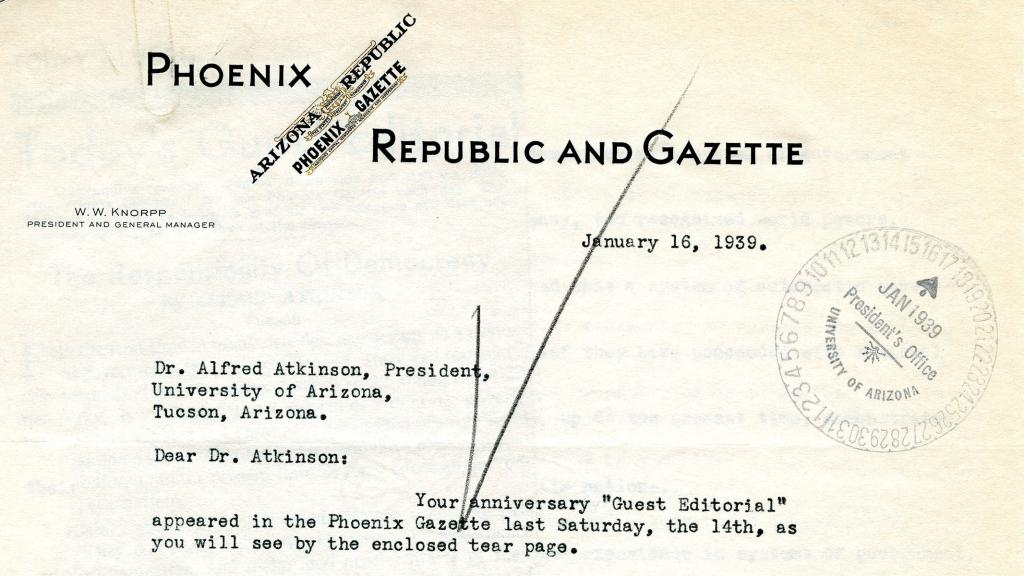 Correspondence to Dr. Alfred Atkinson from W.W. Knorpp, January 16, 1939