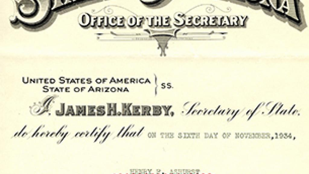 Henry F. Ashurst Election Certificate