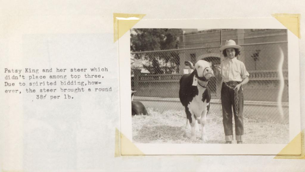 Patsy King and Her Steer at the Pima County Fair, 1945