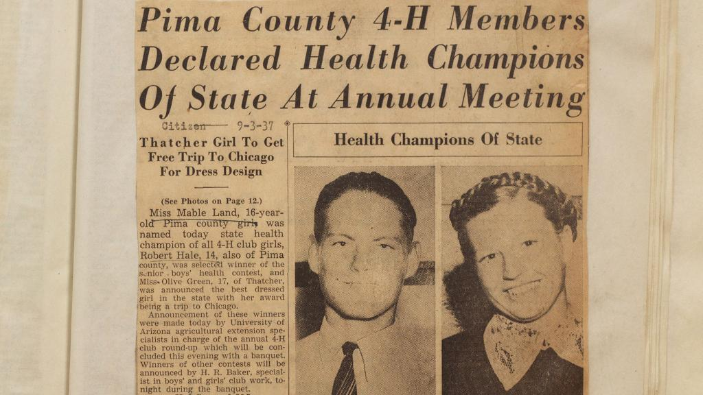 Newspaper Clipping Declaring Health Champions of State, 1937