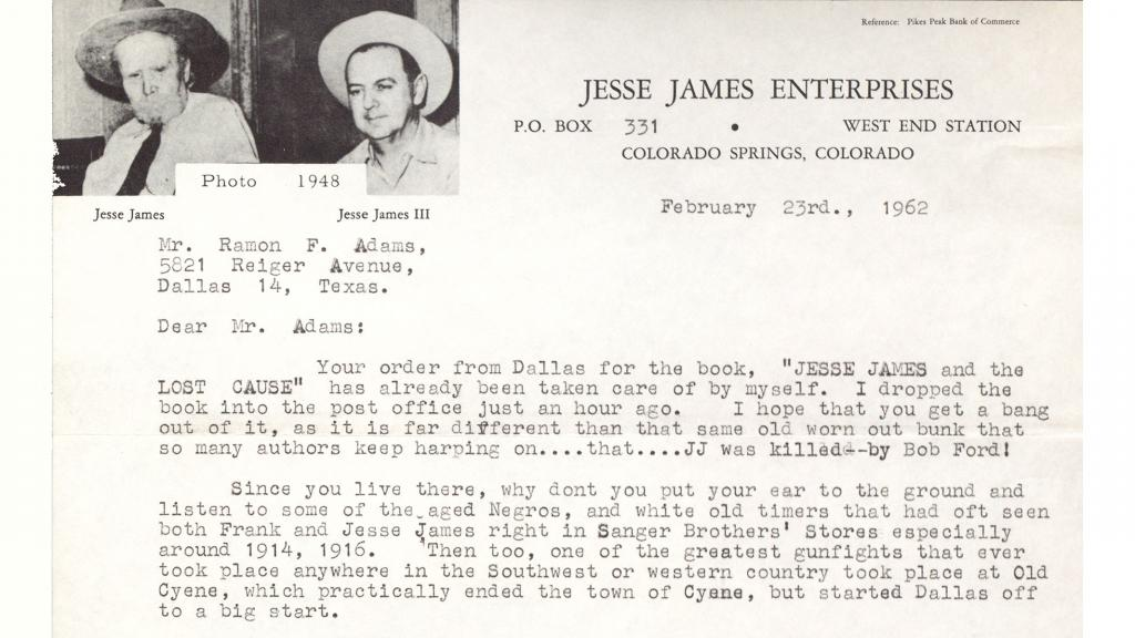 Letter to Ramon F. Adams from Jesse James Enterprises, February 23, 1962