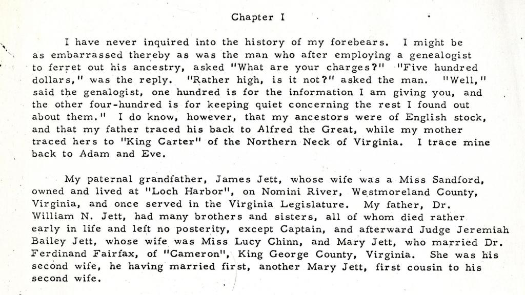 Chapter 1 of Autobiography of William Bladen Jett, circa 1938