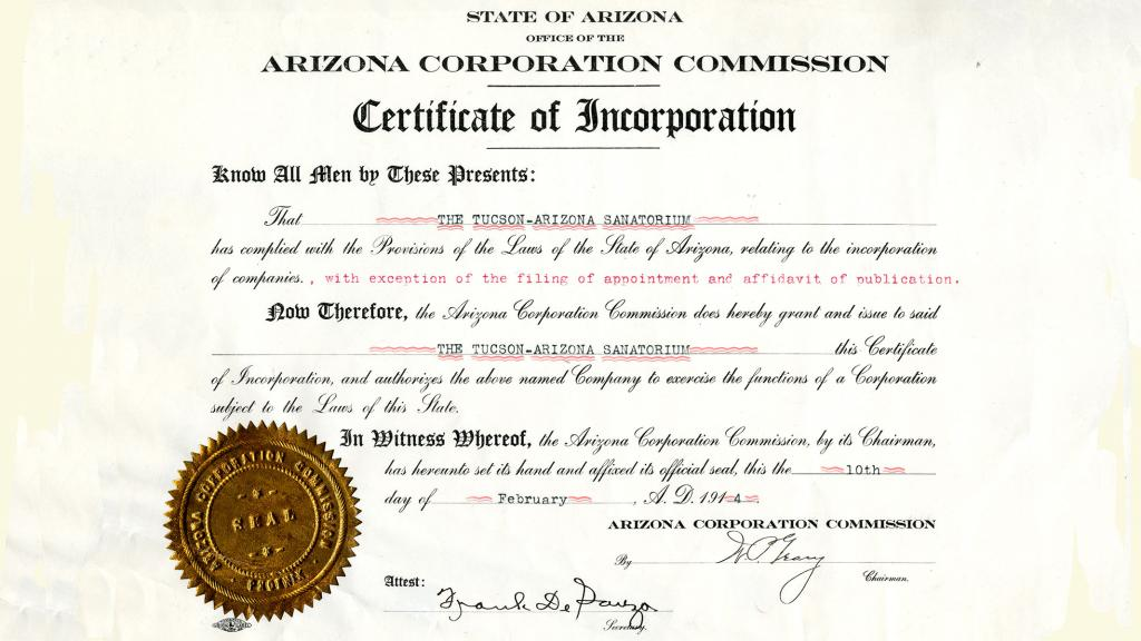 Tucson -Arizona Santorium Certificate of Incorporation, February 10, 1914