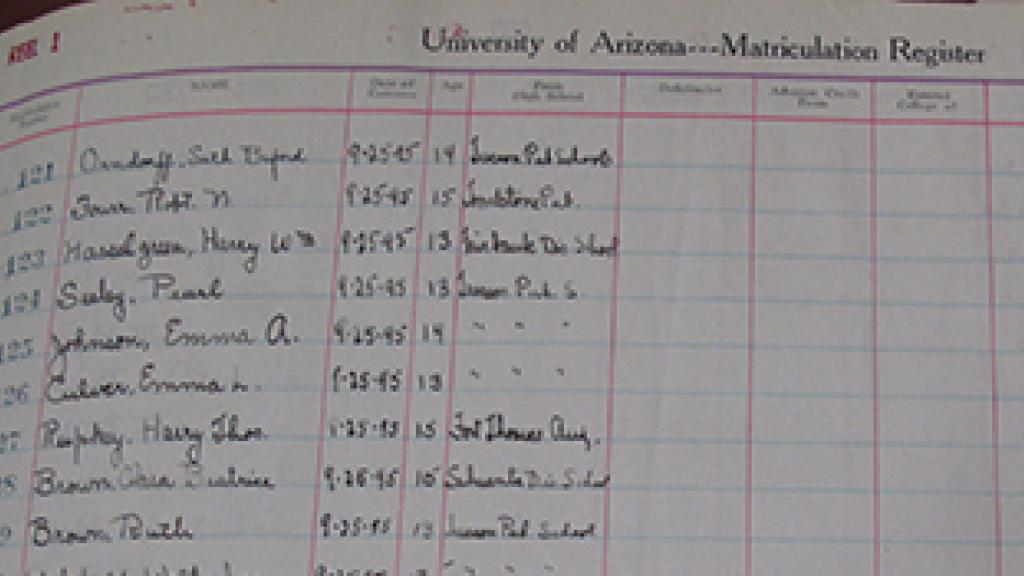 University of Arizona Matriculation Record Page