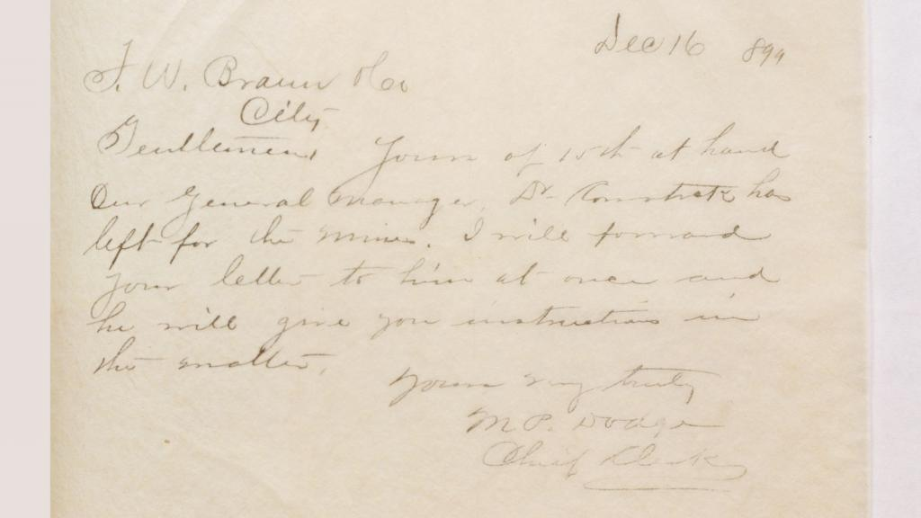 Page 169 from Theodore Bryant Comstock Letter Book, December 16, 1899