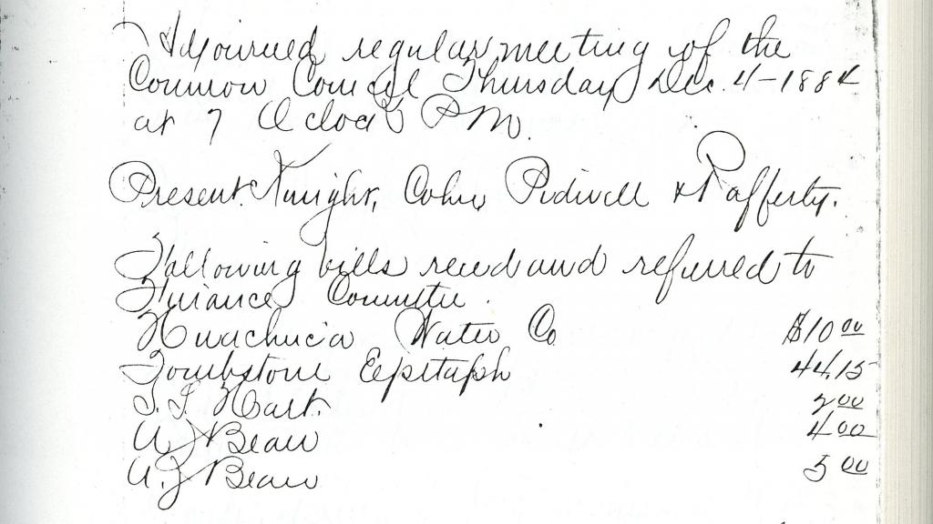 Volume 4, Page 59 from Minutes of the Tombstone Common Council, 1884