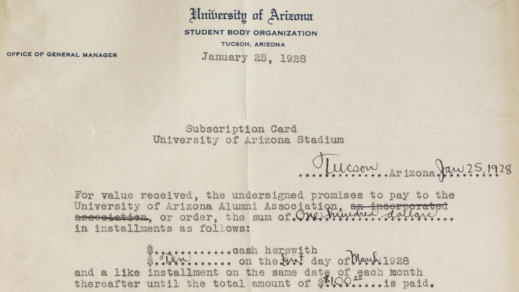 University of Arizona Stadium Subscription Card Contract, January 25, 1928