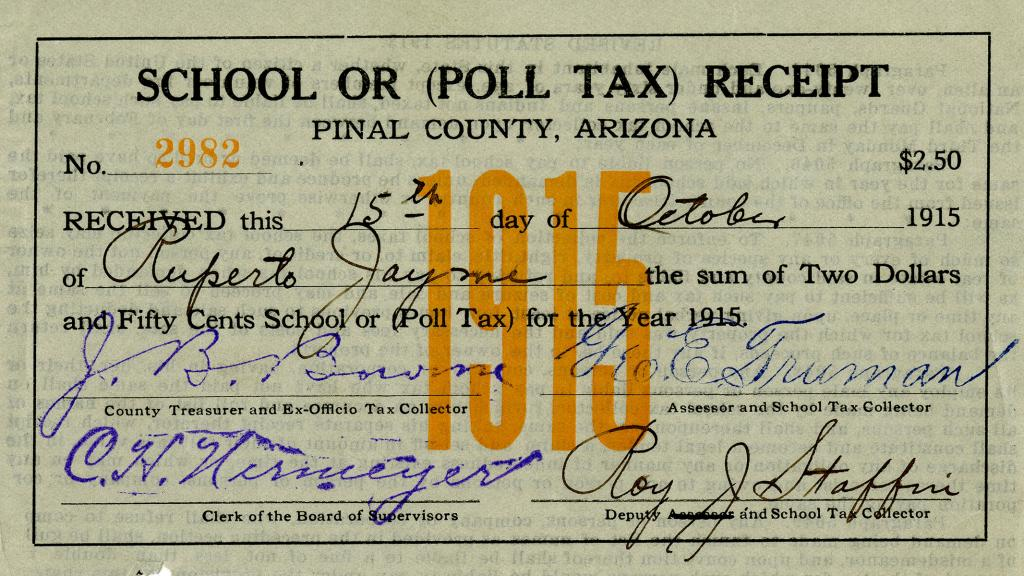 School or (Poll Tax) Receipt, October 15, 1915