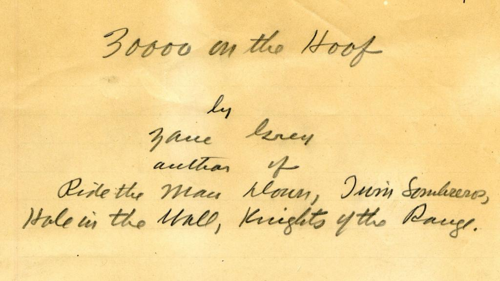 Title Page from 30,000 On the Hoof by Zane Grey, 1940