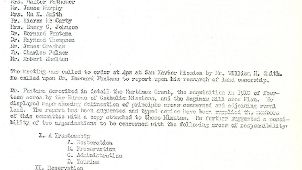 Memo Of The Meeting Of The Tucson Community Group  Special Collections