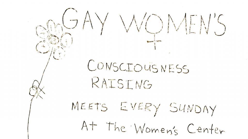 Gay Women's Consciousness Raising Meeting Flyer, circa 1971