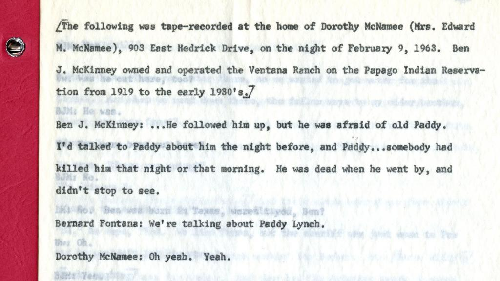 Page 1 of Transcription of Oral Interview Conducted with Ben J. McKinney, 1963