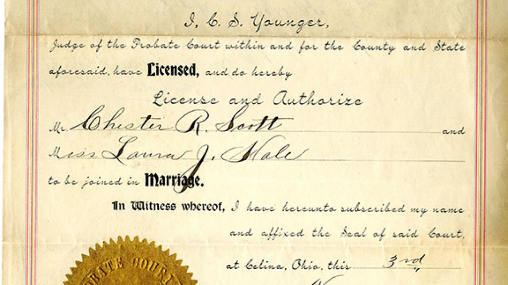 Marriage License  Special Collections