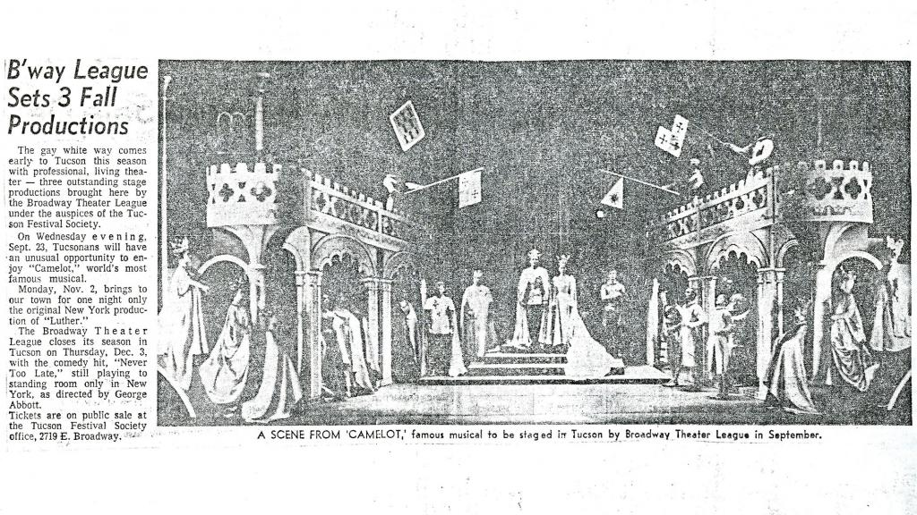 Newspaper Clipping for Camelot Production Brought by the Broadway Theater League, September, 1964