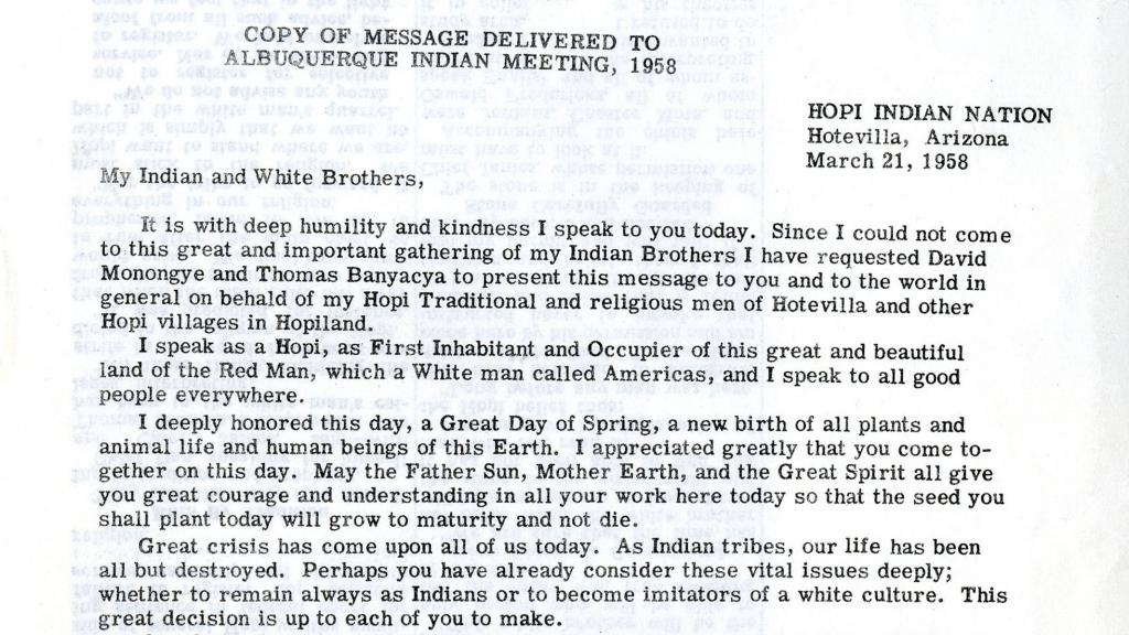 Copy of Message from Dan Katchongva Delivered to Albuquerque Indian Meeting, 1958