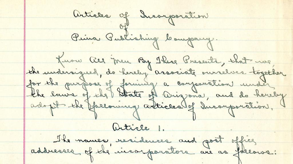 Articles of Incorporation of Pima Publishing Company, 1918
