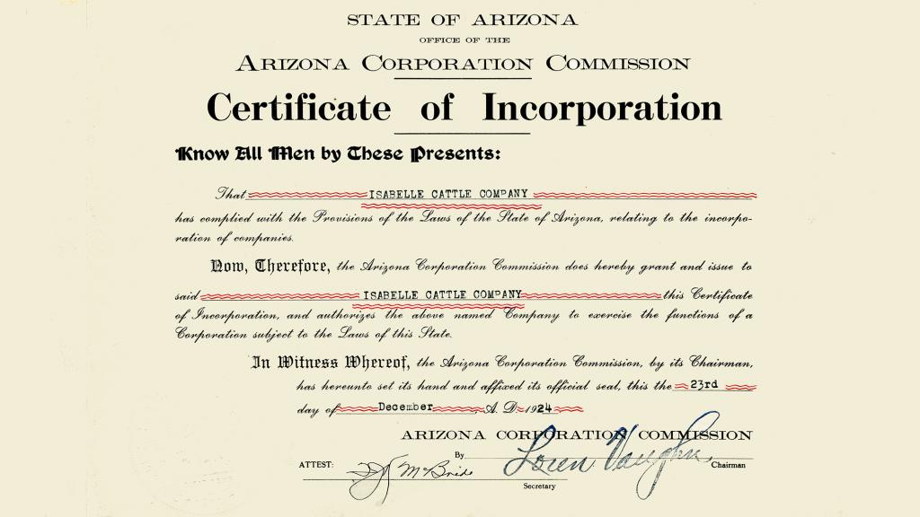 Isabelle Cattle Company Certificate of Incorporation, December 23, 1924