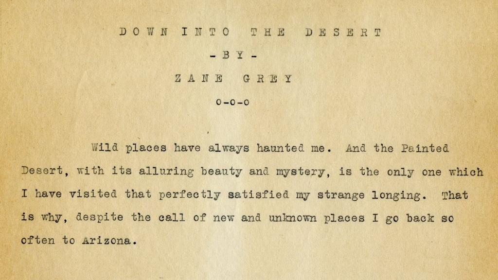 Page 1 of Down into the Desert by Zane Grey, 1924