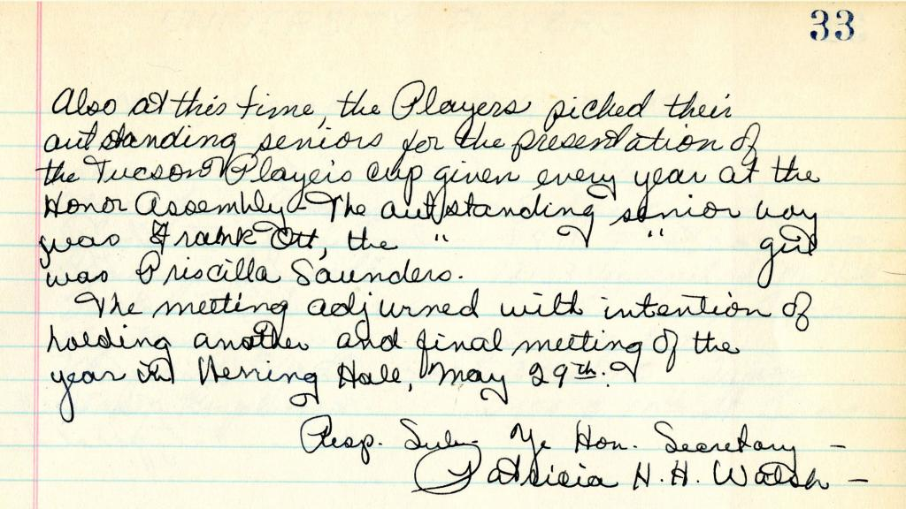 Page 33 of Minutes of Meetings of the University Players, May 11, 1941