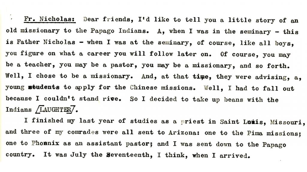 Transcription of an Oral History with Father Nicholas Perschl, O.F.M., 1959