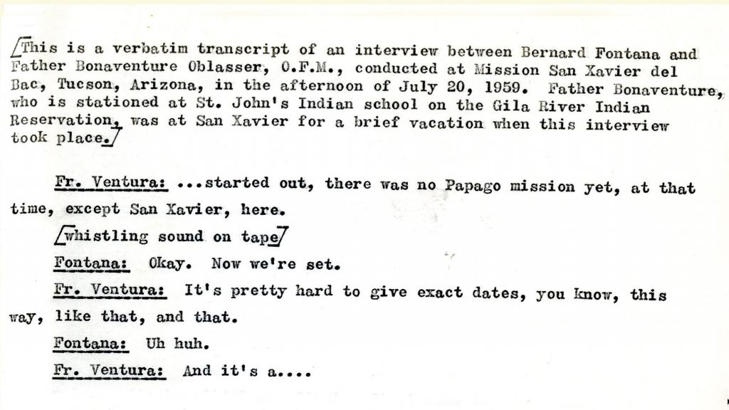 Transcription of an Oral History with Father Bonaventure, O.F.M., July 20, 1959