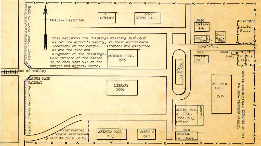 University Of Arizona Campus Map Circa 1916 Special Collections