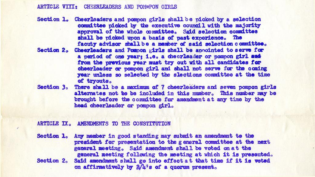 Article VIII from Minutes of Meetings of the Associated Students Traditions Committee, circa 1950