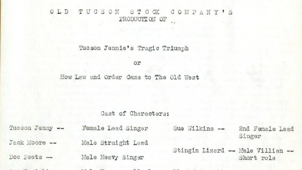 Title Page of Tucson Jennie's Tragic Triumph, 1962