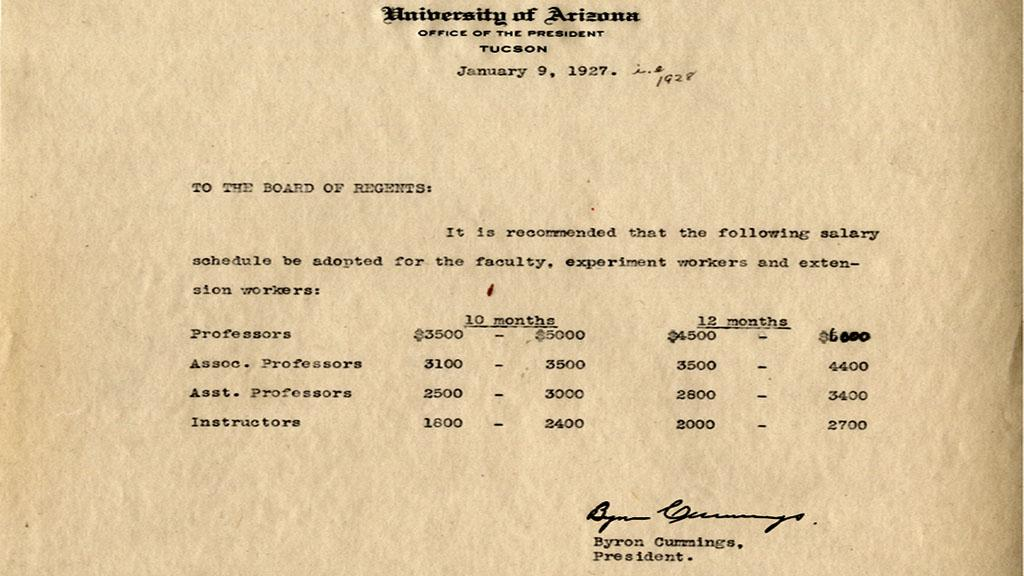 Salary Schedule to be Adopted for the University of Arizona Faculty, Experiment Workers and Extension Workers, January 9, 1927