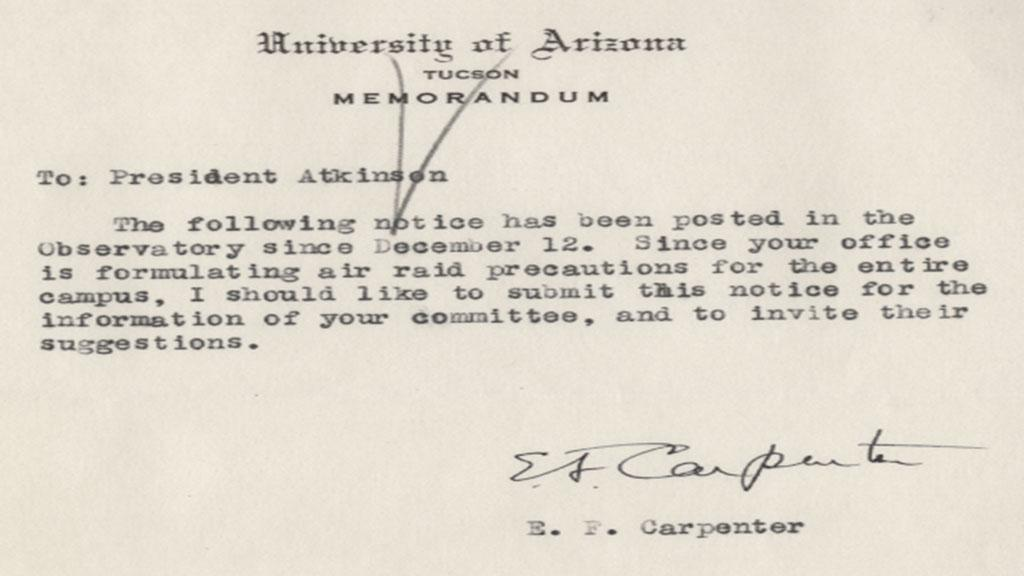 Air Raid Precautions at the University of Arizona Campus Memorandum, circa 1940