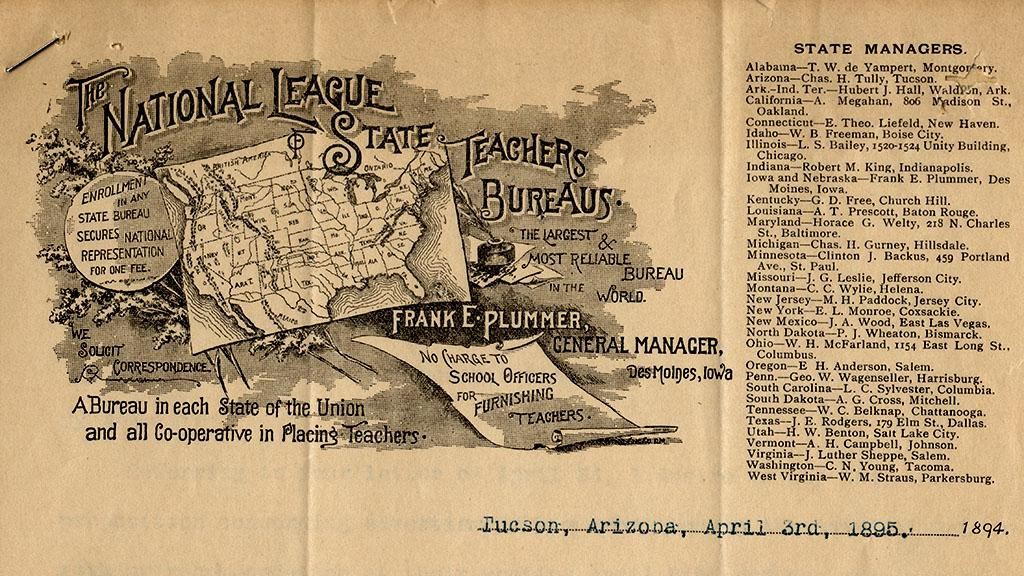 National League of State Teachers Bureaus, April 3, 1895