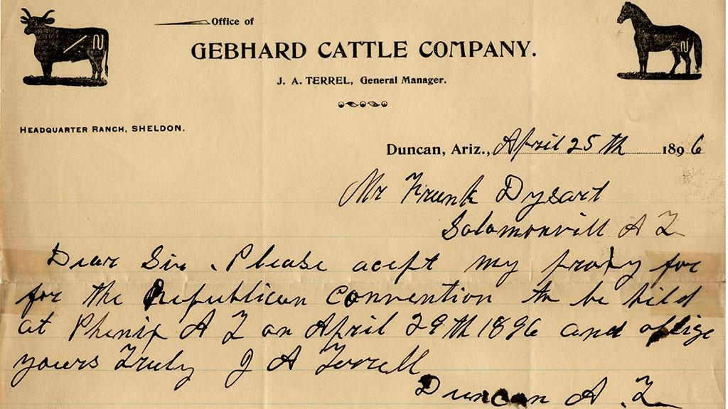 Memo sent to Frank Dysart Requesting Proxy for the 1896 Phoenix Republican Convention, April 25, 1896