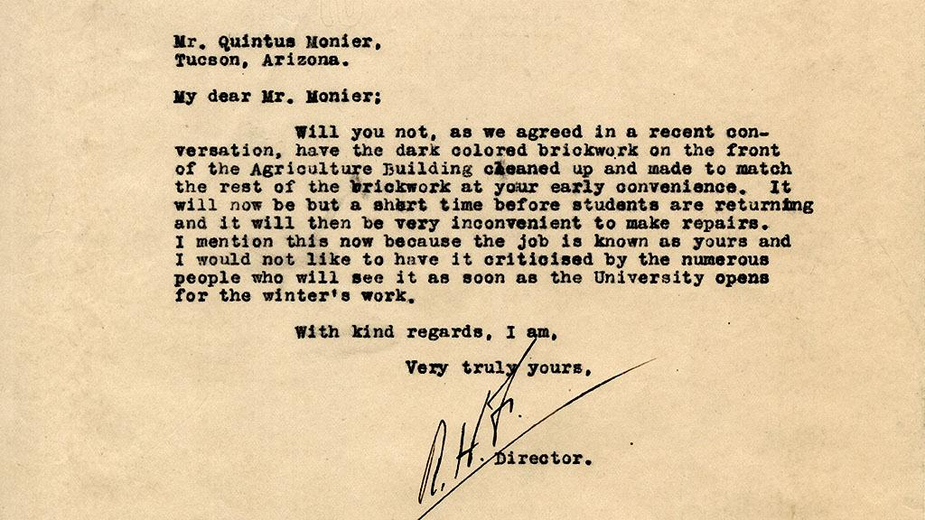 Letter to Quintus Monier Regarding Brickwork on the Agricultural Building, 1915