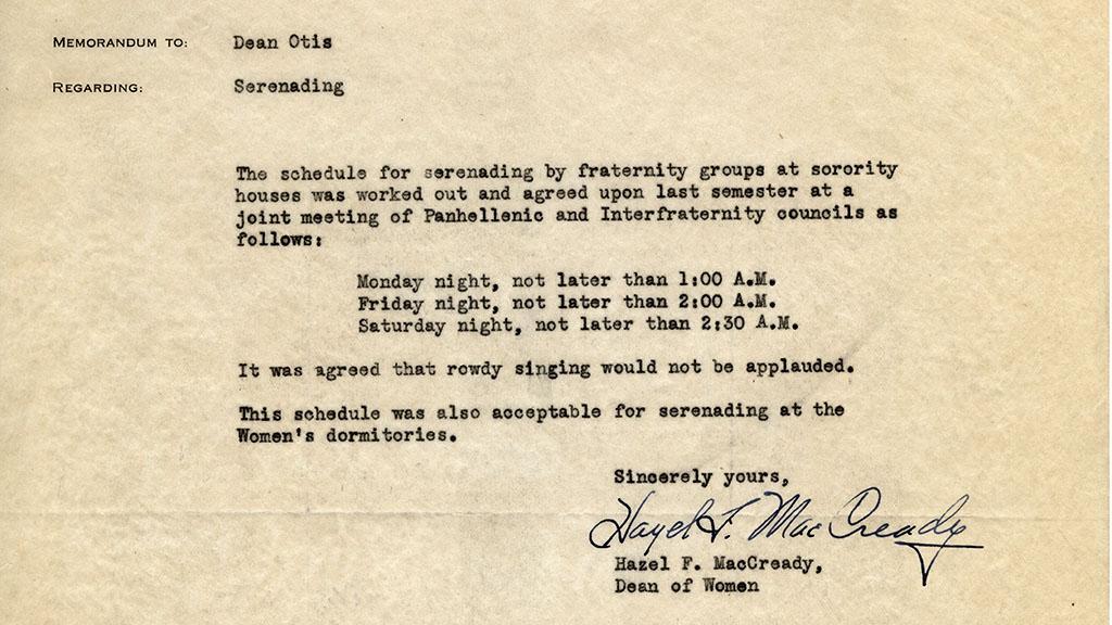 Memorandum to Dean Otis Regarding Schedule for Serenading by Fraternity Groups at Sorority Houses, 1945