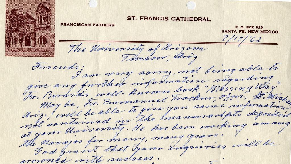 Letter Concerning Blessing Way, July 17, 1962