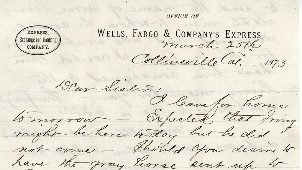 Letter from Edward D. Tuttle to His Sister. March 25, 1873