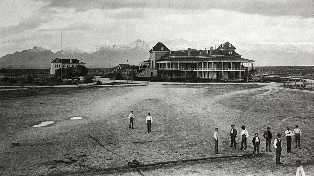 Old Main with Snow Covered Catalina Mountains in the Background, circa 1903