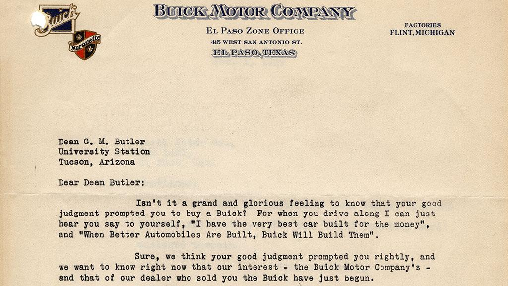 Letter to Dean G.M. Butler from Buick Motor Company, 1929