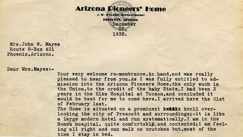 Letter to Mrs. John W. Mayes from Arizona Pioneers' Home, December 22, 1938