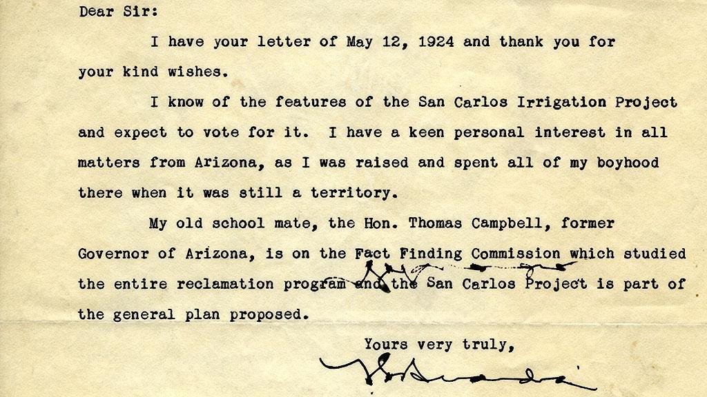 Letter to Walter Webb from Fiorella La Guardia, 1924