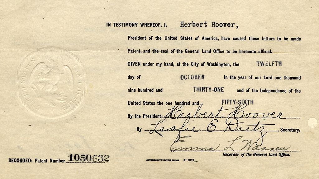 Land Claim Signed by President Herbert Hoover, October 12, 1931