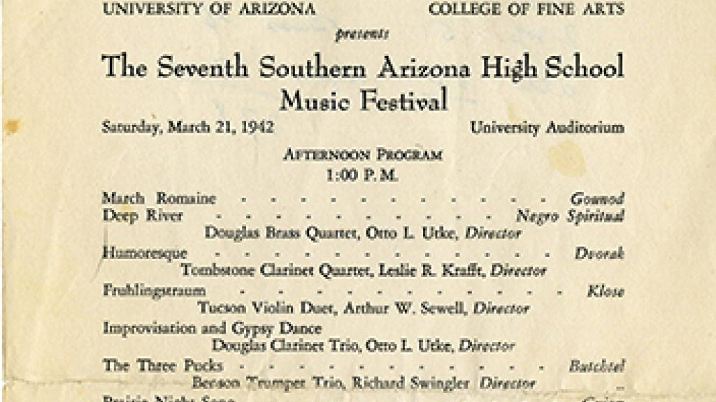 Program from Southern Arizona High School Music Festival