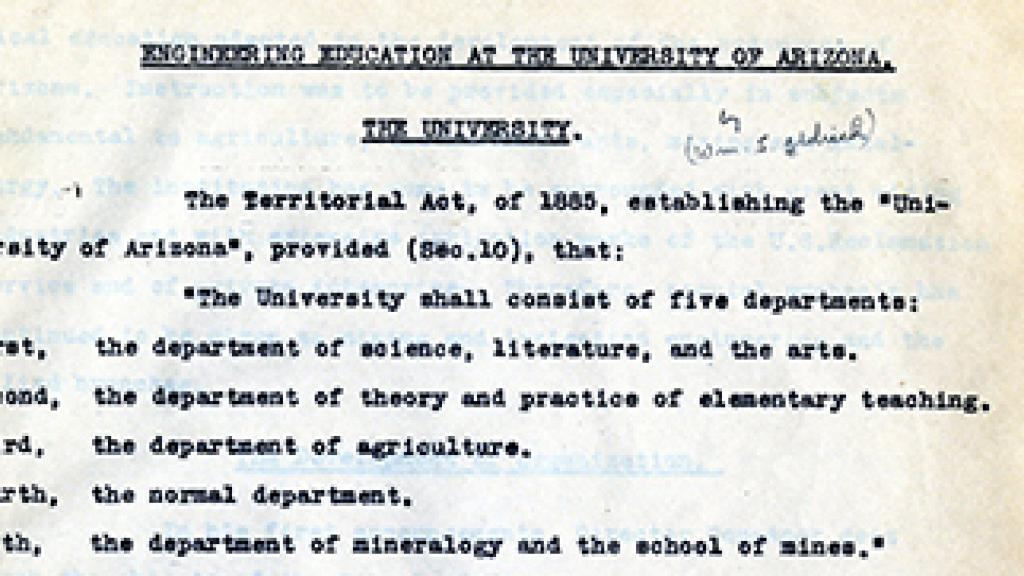 Page of History of Engineering Education at the University of Arizona