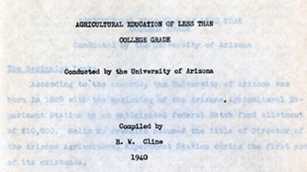 Cover Page of Agricultural Education of Less Than College Grade