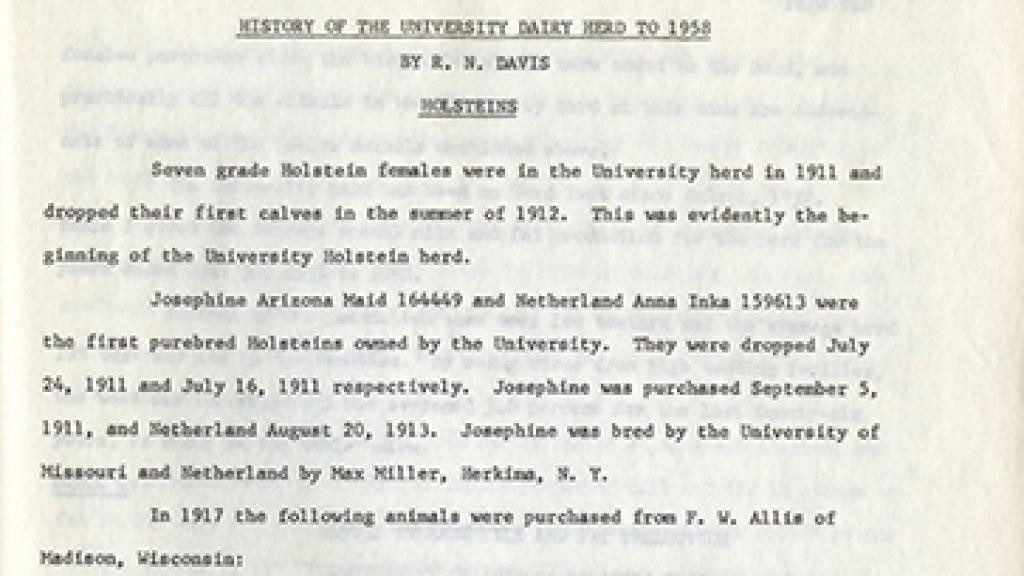 "Cover Page of ""History of the University Dairy Heard to 1958"""